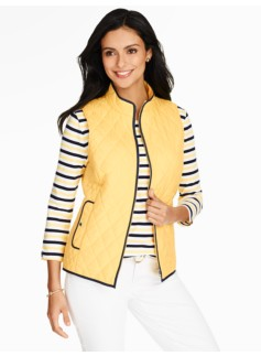 Quilted Vest-Contrast Trim