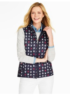 Quilted Vest-Sailboats Print