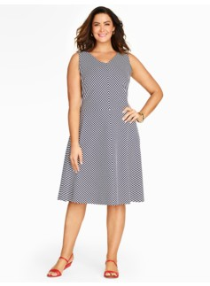 Edie Fit & Flare Dress-Striped