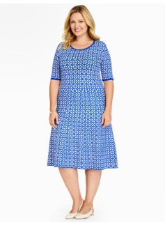 Grecian-Geo Jacquard Sweater Dress