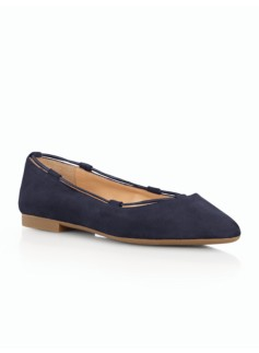 Poppy Elastic-Laced Suede Flats