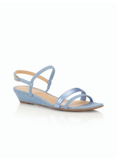 Capri Leather Wedge-Denim/Metallic