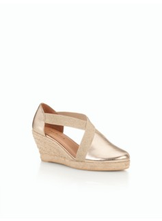 Lyndsay D'Orsay Espadrille Wedges-Metallic Leather