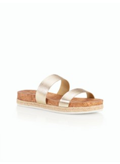 Maggie Cork-Sole Slides-Metallic Leather