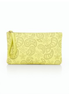 Paisley-Perforated Wristlet