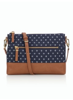 Diamond-Print Crossbody Bag