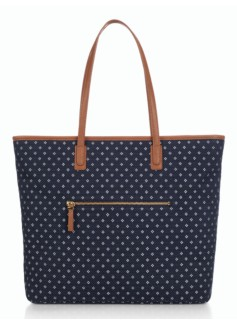 Diamond-Print Denim Tote