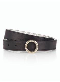 Womans Reversible Leather Belt - Black
