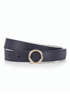Womans Reversible Leather Belt - Indigo Blue