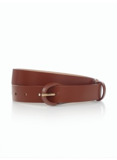 Womans Leather Loop-Buckle Belt