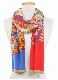 Paisley & Colorblocked Scarf