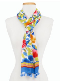 Fruit Blossoms & Stripes Scarf