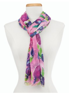 Watercolor Fruit & Roses Scarf