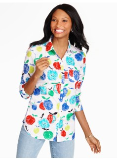 Print Cotton Shirt - Sketched Apples