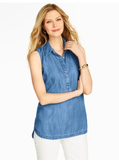 Sleeveless Denim Popover