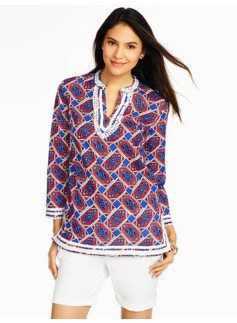 Lace-Trimmed Geo-Paisley Tunic