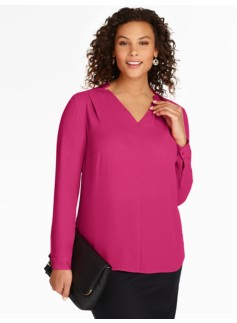 Notched V-Neck Blouse - Calla Lily
