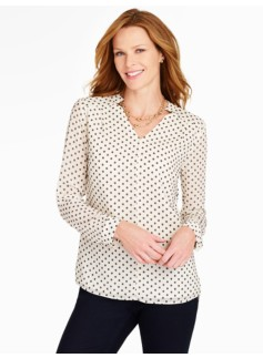 Notched V-Neck Blouse - Dotted Daisies