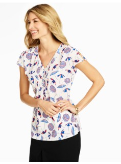 Umbrella-Print Blouse