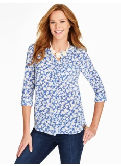 Washable Silk Band-Collar Blouse - Daisy Boutique