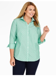 The Perfect Three-Quarter Sleeve Shirt-Dots & Stripes