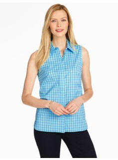 The Perfect Sleeveless Shirt-River Plaid