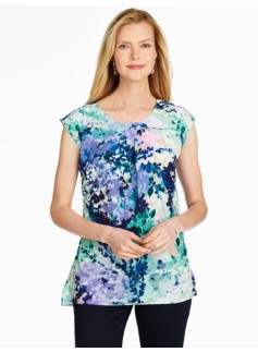 Cap-Sleeve Blouse-Watercolor Floral