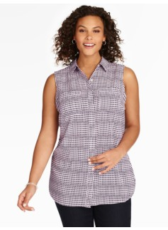 Sleeveless Georgette Shirt - Mixed Diamond