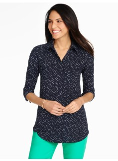 Long Crepe Shirt-Dancing Dots