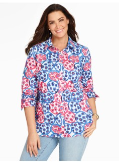 Print Cotton Shirt - Flower Garden