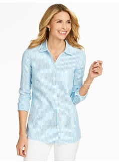 Linen Shirt - Dotty Stripes