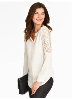 Lace-Sleeve Blouse - Ivory