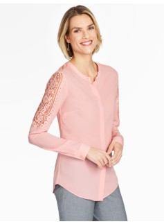 Lace-Sleeve Blouse - Magnolia Pink