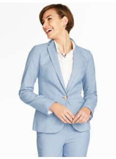 Dobby-Weave Single-Button Blazer
