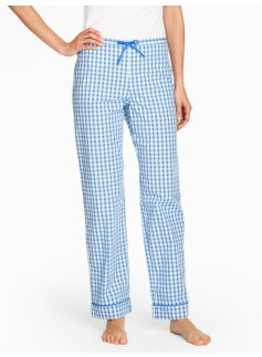 Bright Print Pajama Bottoms-Gingham Checks