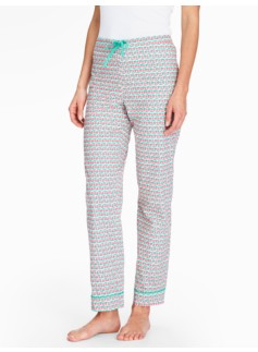 Bright Print Pajama Bottoms-Watermelon