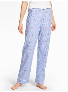 Bright Print Pajama Bottoms-Embroidered Flowers