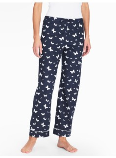 Bright Print Pajama Bottoms-Butterflies