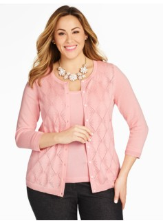 Argyle Pointelle Charming Cardigan