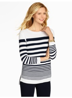 Graduated-Stripe Ribbed Sweater