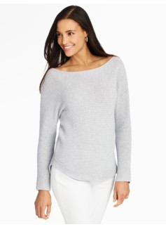 Shaker-Stitched Boatneck Sweater - Sparkle