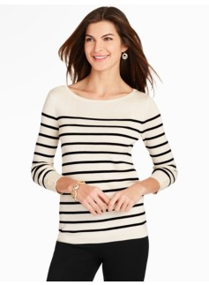 Calais Stripe Button-Cuff Sweater