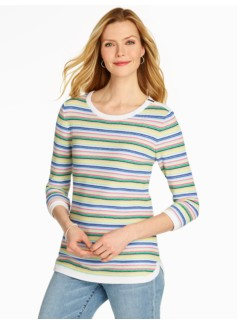Tucked-Stitched Stripe Sweater