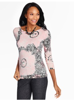 Painterly Floral Button-Cuff Sweater