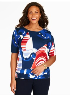 Elbow-Sleeve Sweater Topper-Sailboats