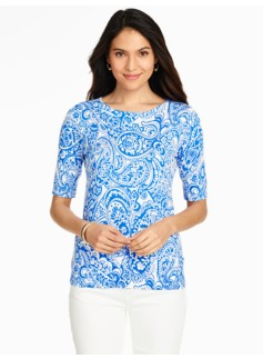 Elbow-Sleeve Sweater Topper-Ice Cream Paisley