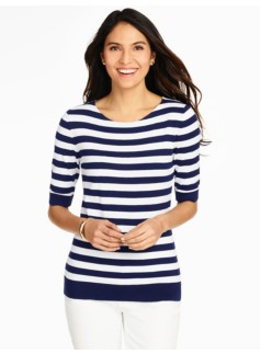 Elbow-Sleeve Sweater-French Stripe