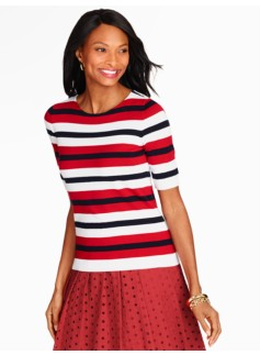 Elbow-Sleeve Sweater Topper-Mixed Stripes