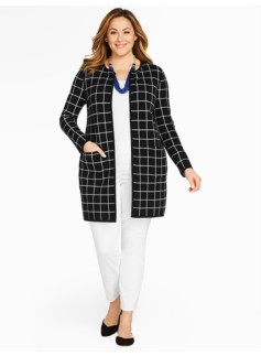 Windowpane Plaid Sweater Jacket