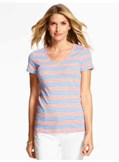 Candy Stripes V-Neck Short-Sleeve Tee